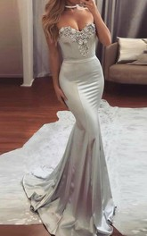 Mermaid Sweetheart Sweep Train Satin Prom Dress with Beading