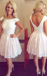 A-line Bateau Short Sleeve Beading Pleats Short Mini Lace Homecoming Dress
