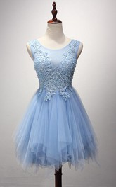 Strapless Scoop Neck Short A-Line Tulle Dress With Applique Bodice
