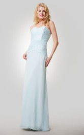 Column Chiffon Floor Length Sweetheart Dress With Lace Bodice