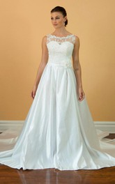 Charming Sex Bateau Neck Sleeveless Long A-Line Satin Dress With Beaded Bodice