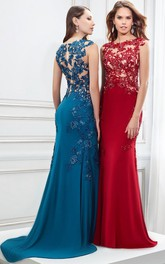 Cap Sleeve Appliqued Bateau Neck Jersey Prom Dress
