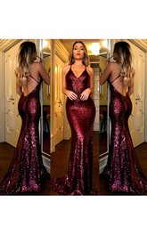 Sexy Backless Dark Red Sequin Mermaid Evening Prom Dress