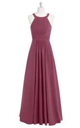 Pleated Chiffon A-Line Long Dress With Cinched Waistband