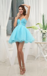 Mini-Length Sweetheart A-Line Ruched Dress with Crystal Detailing Zipper Back