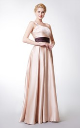 Shimmering Diagonal Pleated Gown With Contrast Waistband