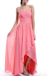 Watermelon Sweetheart Bridesmaid High Low Chiffon Bridesmaid With A Slit Dress