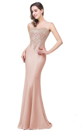 Mermaid Sleeveless Lace Appliqued Sweep Train Satin Dress