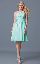One Shoulder Knee Length Chiffon Bridesmaid Dress