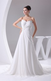 Strapless Chiffon Pleated Maxi Dress with Beading and Central Ruching