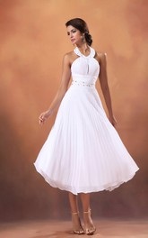 Tea-Length A-Line Dress With Draping And Crystal Detailing