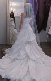Sweetheart Ruffled Long A-Line Wedding Dress With Beading Detailing
