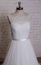 Bateau Neck Sleeveless Long A-Line Tulle Wedding Dress With Lace Edging