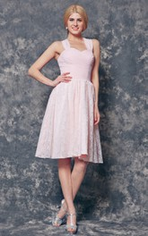 Halter Knee Length Chiffon and Lace Bridesmaid Dress