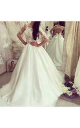 Simple Crew Neck Half Sleeves Backless Lace Wedding Bridal Gown