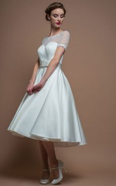 A-Line Tea-Length Short-Sleeve Scoop-Neck Satin Wedding Dress With Illusion