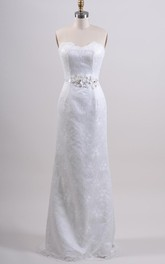 Strapless Sweetheart Sheath Lace Wedding Dress With Flower Belt