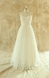 Jewel Sleeveless Long Tulle Wedding Dress With Pleats And Button Back