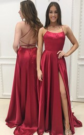 Sexy Simple Design Backless Side Slit Long Evening Prom Dress