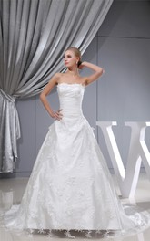 Long Strapless A-Line Lace Gown with Tulle Overlay and Cinched Waistband