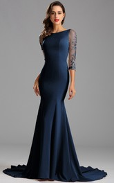 Mermaid Floor-Length Court Train Bateau 3 Taffeta Appliques Zipper Dress