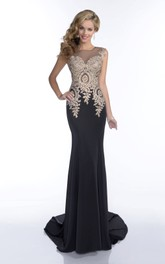 Sleeveless Jersey Column Prom Dress Featuring Glimmering Jewels And Illusion Back
