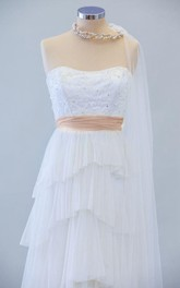 Handmade Strapless Long A-Line Tulle Wedding Dress With Tiers