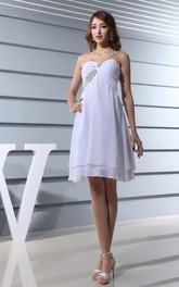 Fairy Sweetheart Chiffon Midi Dress With Ruching and Beaded Strap