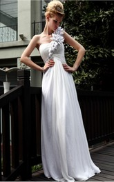 Decent White A-line Floor-length One Shoulder Dress