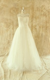 Scalloped Sleeveless A-Line Long Tulle Wedding Dress With Appliques
