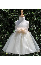 Sleeveless Jewel Neck Flower Waist Tulle Special Occasion Dress With Satin Bodice