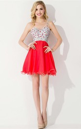 Luxurious One-shoulder Sleeveless Short Cocktail Dress Crystals Chiffon Red Chiffon Homecoming Gown