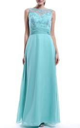 Floor-length Chiffon&Lace Dress With Low-V Back