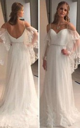 Backless Lace Sheer Long Sleeves Lace Beach Bohemian Wedding Bridal Gown