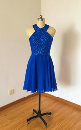 Halter Cobalt Blue Chiffon Short Dress With Kayhole Back