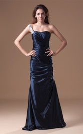 Single-Strap Satin Mermaid Gown with Ruched Bodice