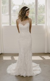 Sleeveless Mermaid Sweetheart And Buttons Lace Wedding Dress With Open Back