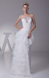 Single-Strap Tiered Floor-Length Dress with Beading and Appliques