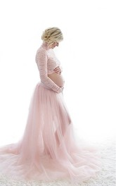 Two-piece Lace Bodice Long Sleeve Sweep Tulle Maternity Dress