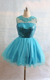 Short Organza Sequined Dress With Embroideries And Ruffles