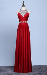A-line Floor-length Halter sleeveless Jersey Beading Dress