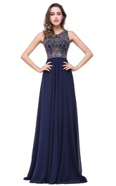 Modern Chiffon A-line 2018 Prom Dress Beadings Illusion Zipper