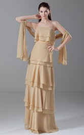 simple layered floor-length chiffon dress with pleats