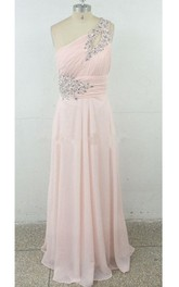 Long One-shoulder Chiffon Dress With Beading And Ruching