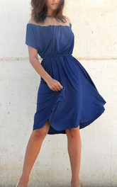 Fall Blue Bridesmaid Full Circle Knee Length Bridesmaid Dress