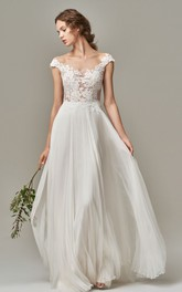 Bohemian Chiffon Lace Bateau A Line Short Sleeve Wedding Dress with Appliques and Illusion Deep-V Back