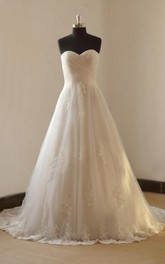 Romantic A Line Lace Wedding With Sweetheart Neckline Dress