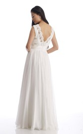 V-Neck Sleeveless Low-V Back Chiffon Wedding Dress With Ruching And Appliques