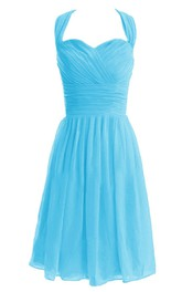 Sleeveless Asymmetrical Bodice Knee-length Pleated Chiffon Dress