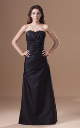 Strapless A-Line Floor-Length Dress with Central Ruching